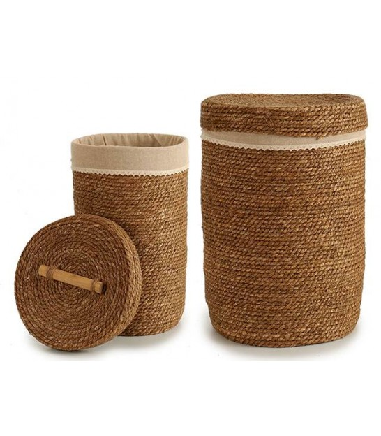 Set of Two Laundry Baskets Natural Fiber