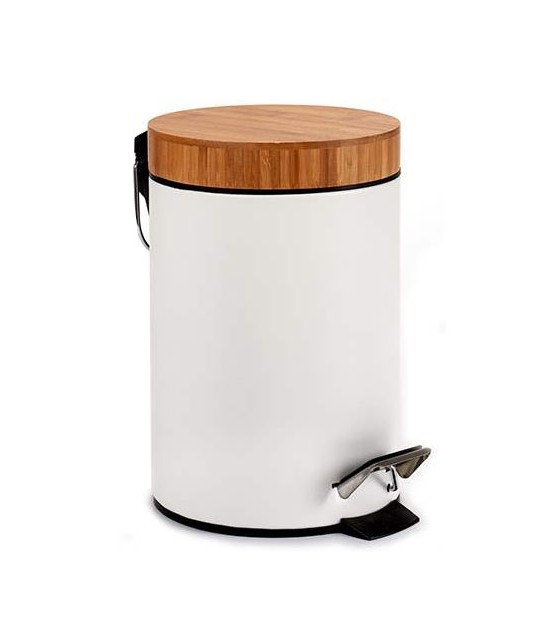 Bathroom Bin Black Metal and Bamboo