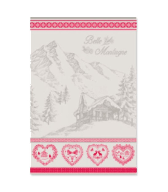 Set of 2 Tea Towels 100% Cotton Grey and Red Chalet - 70x50cm