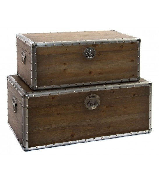 Set of 2 Wood Storage Trunks