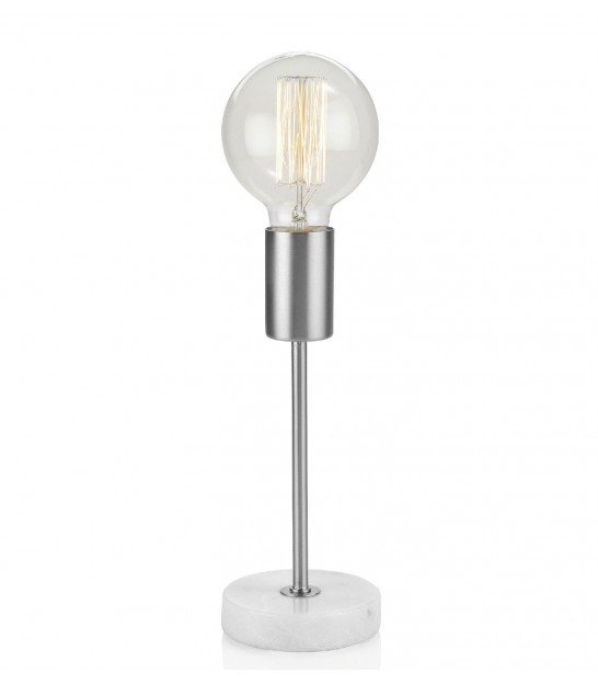 Table Lamp Nickel and White Marble