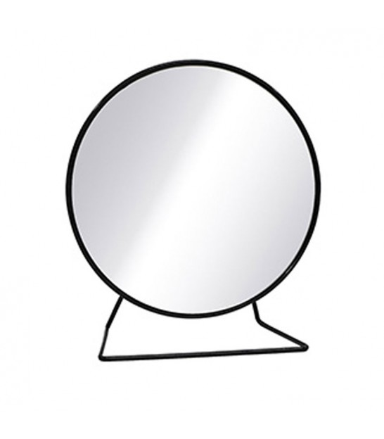 Round Mirror on Stand Black Metal