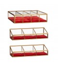 Glass box, brass/glass, red, s/3