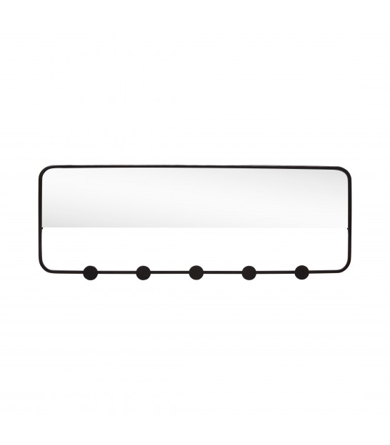 Wall Coat Rack 5 hooks with Mirror