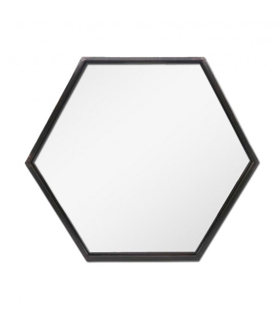 Hexagonal Mirror Black Metal