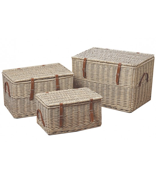 Set of 3 Storage Trunks Rattan