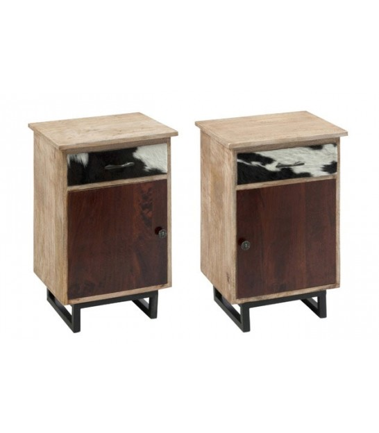 Set of 2 Nighstands Wood