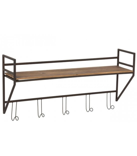 Coatrack 5 Hooks Shelf Metal/Wood