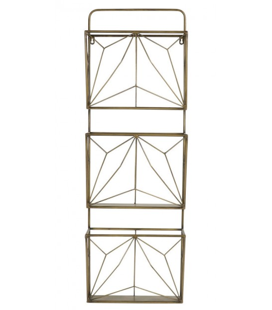 Wall Magazine Rack Golden Metal