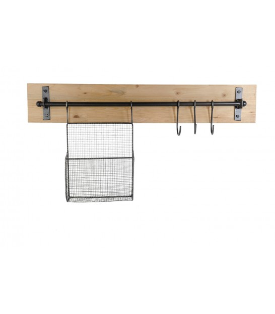 Wood and Metal Wall Organizer