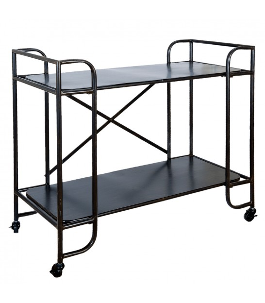 Black Metal Shelf on Wheels Industrial Style