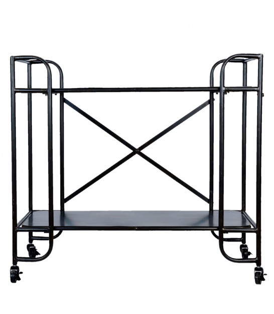 Wood and Metal Shelf on Wheels Industrial Style - 115cm