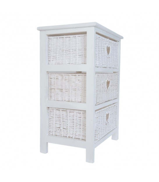 Nightstand White Wood with 3 Drawers