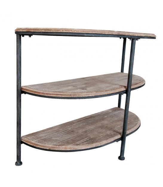 Console Table Wood and Black Metal half-moon