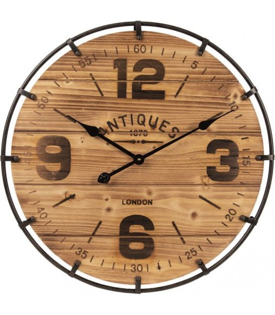 Wall Clock Wood and Black Metal - 76cm