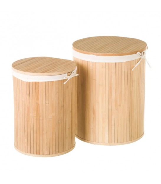 Set of Two Laundry Baskets Bambou