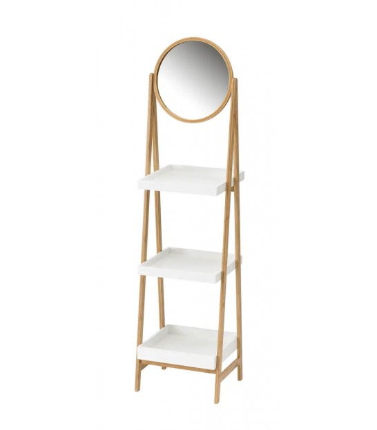 White and Bamboo Bathroom Shelf with Mirror