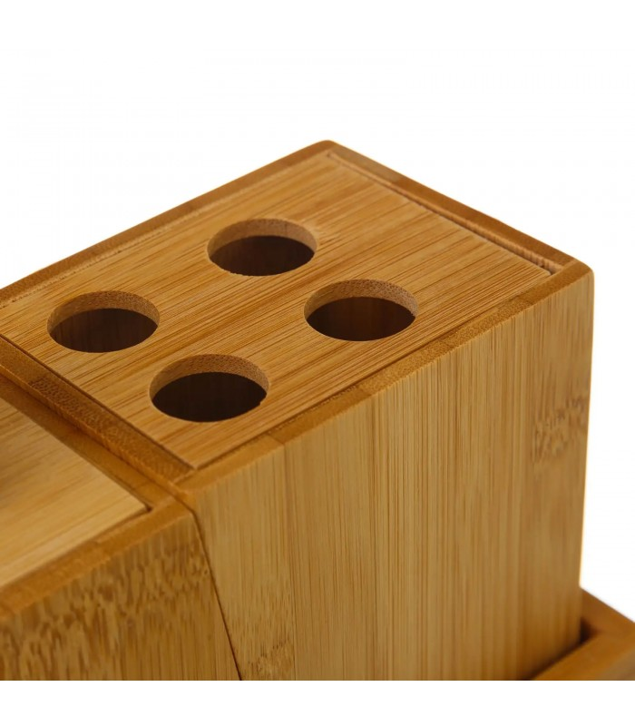 bamboo bathroom accessories - set of 4 pieces
