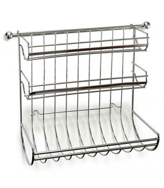 Kitchen 3 Rolls Dispenser Chromed Metal