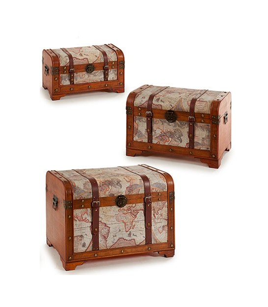 Set of 3 Decorative Storage Malles World