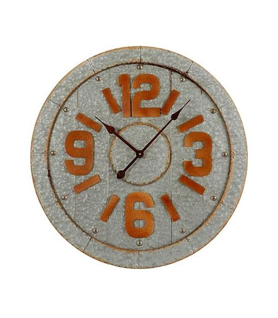 Wall Clock Roung Grey Metal - 68cm