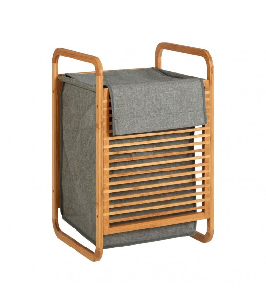 Laundry Basket Grey Fabric and Bamboo