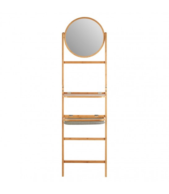 Towel Rack Stairs Bamboo with Mirror