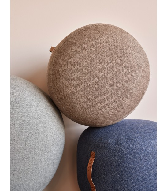 Pouf Round Wool Grey