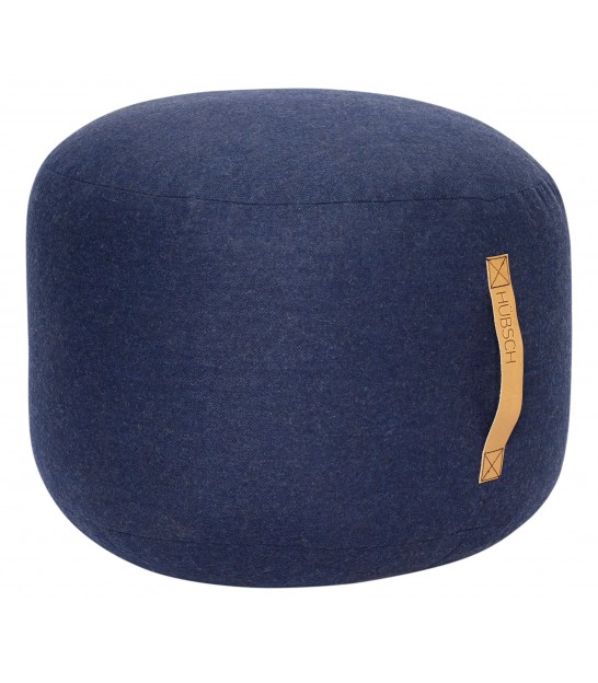 Pouf Round Wool Blue