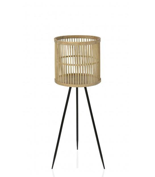 Plant Stand Black Metal and Bamboo - Height 79cm