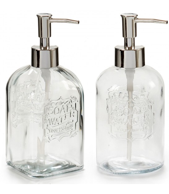 Set of 2 Soap Disensers Glass and Chome Metal