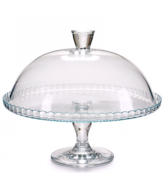 Glass Cake Stand 32cm Diameter + Glass Bell