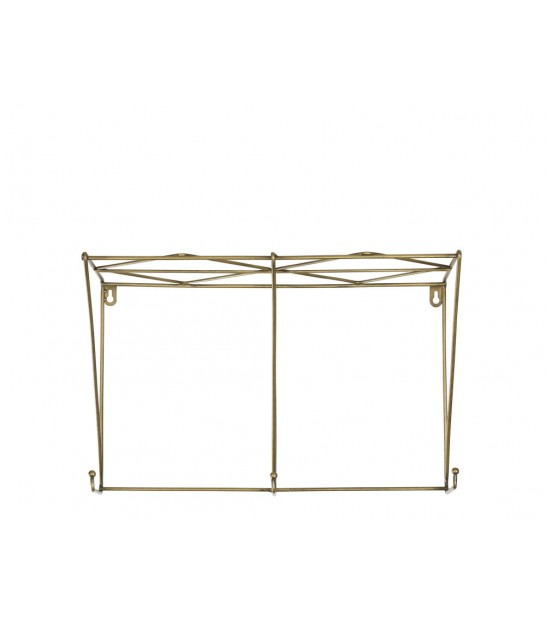 Wall Shelf Golden Metal with 3 Hooks
