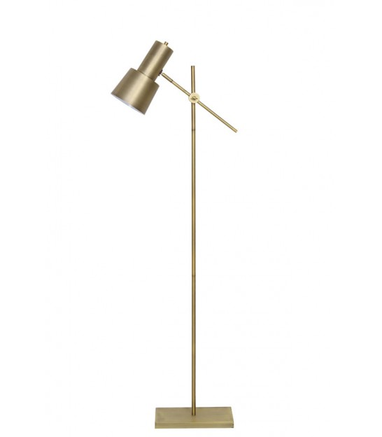Floor Lamp Black Metal and Golden Brass