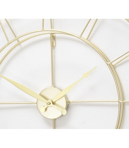 Round Wall Clock Golden Metal with Pendulum