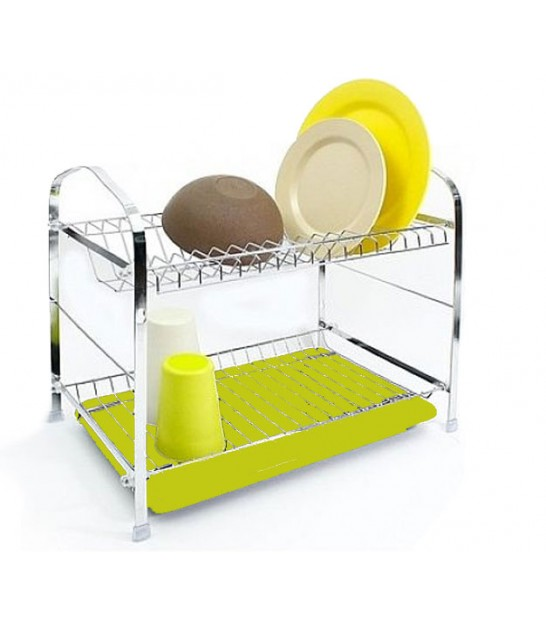 Double Dish Rack Green