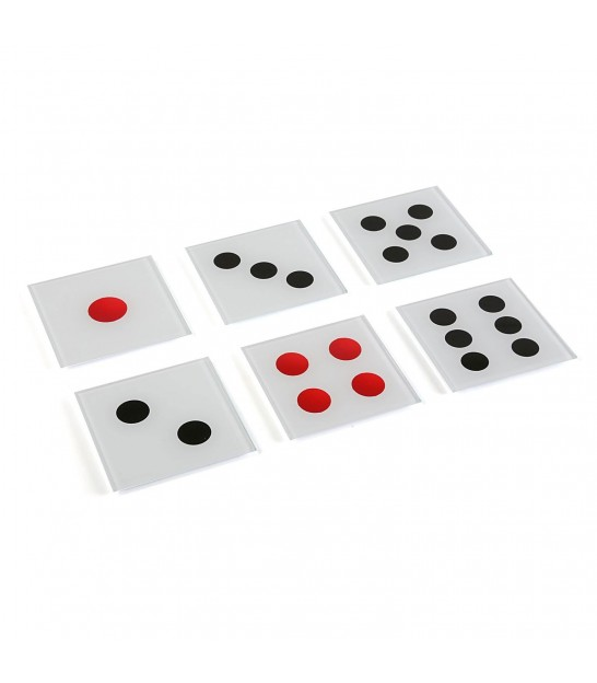 Set of 6 Glass Coasters Dice