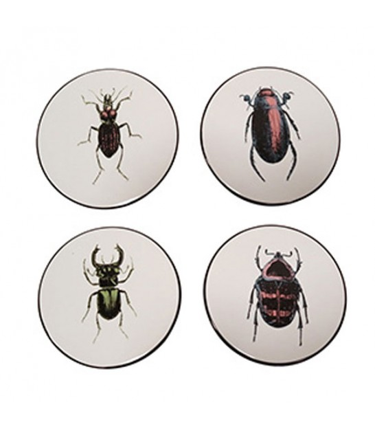 Set of 4 Coasters Ceramic Insects