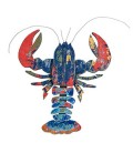 Wall Decoration Multicolor Wood Lobster