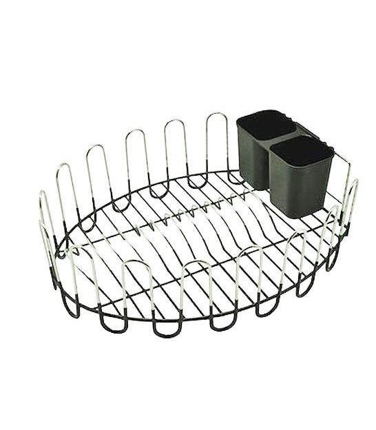 Dish Rack Metal Black and Chrome