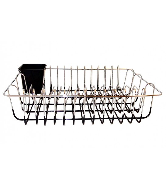Dish Rack Metal Black and Chrome Rectangular