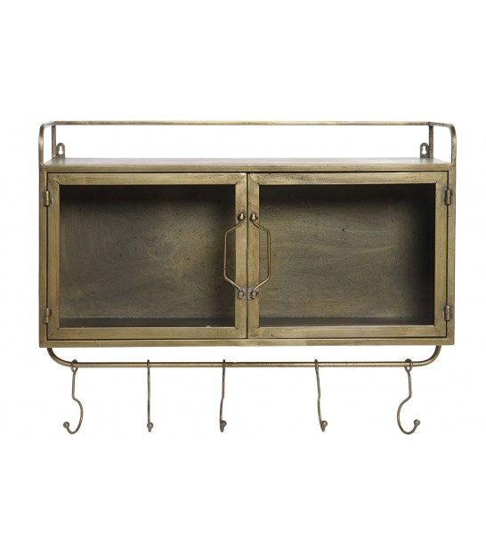 Wall Shelf Metal and Glass with 5 Hooks