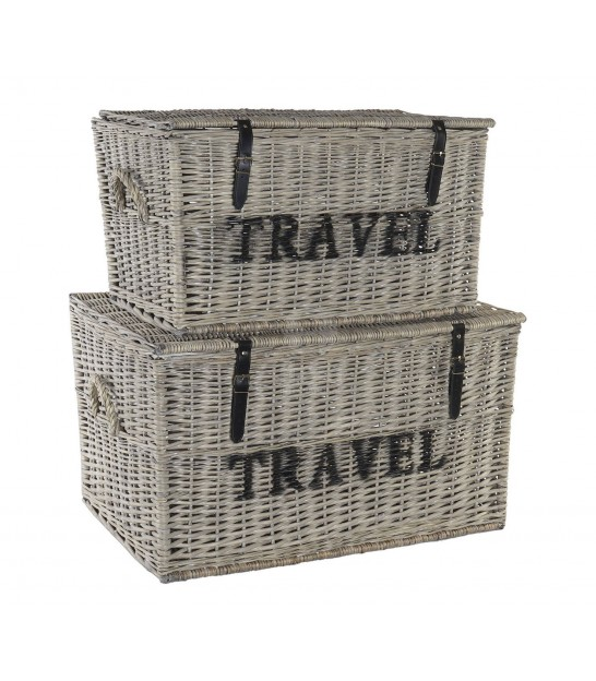 Set of 2 Storage Trunks Rattan Grey Travel