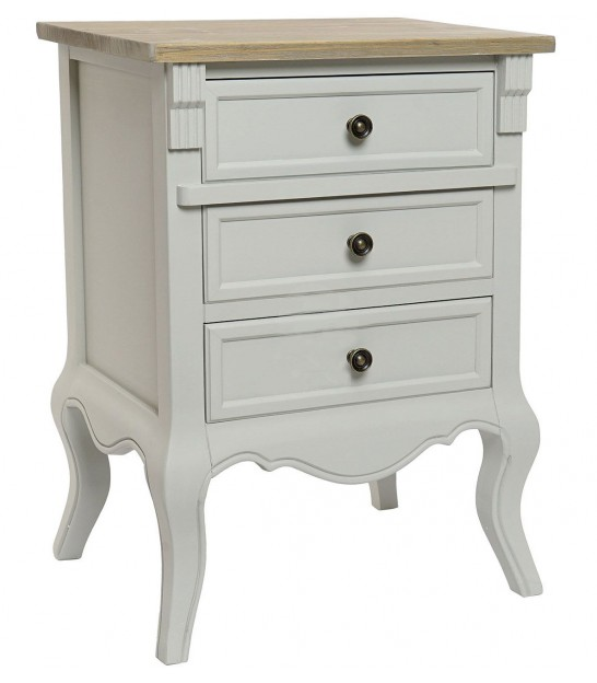 Nightstand Wood Gold 2 Drawers