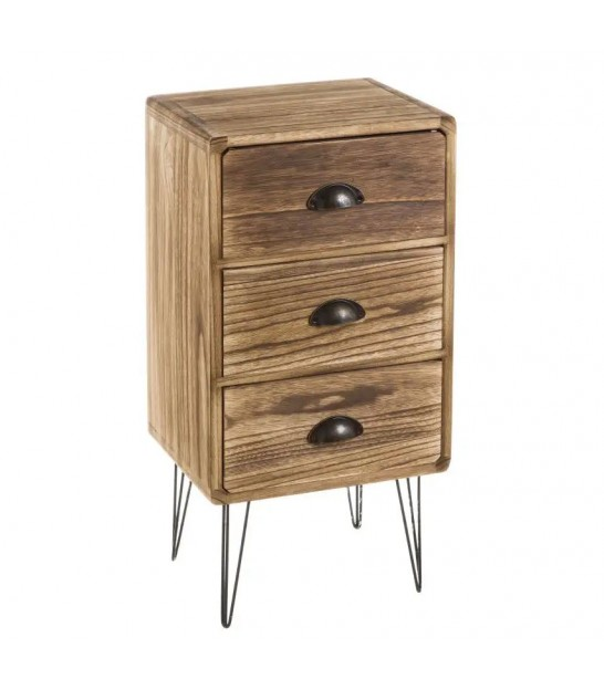 Bedside Table 3 Drawers Pawlonia