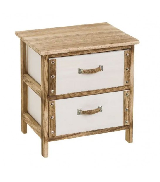 Nightstand Wood 2 Drawers White