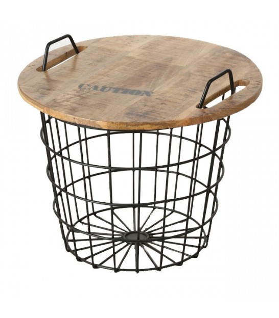 Industrial Round Coffee Table Made Of Wood And Metal Flexo