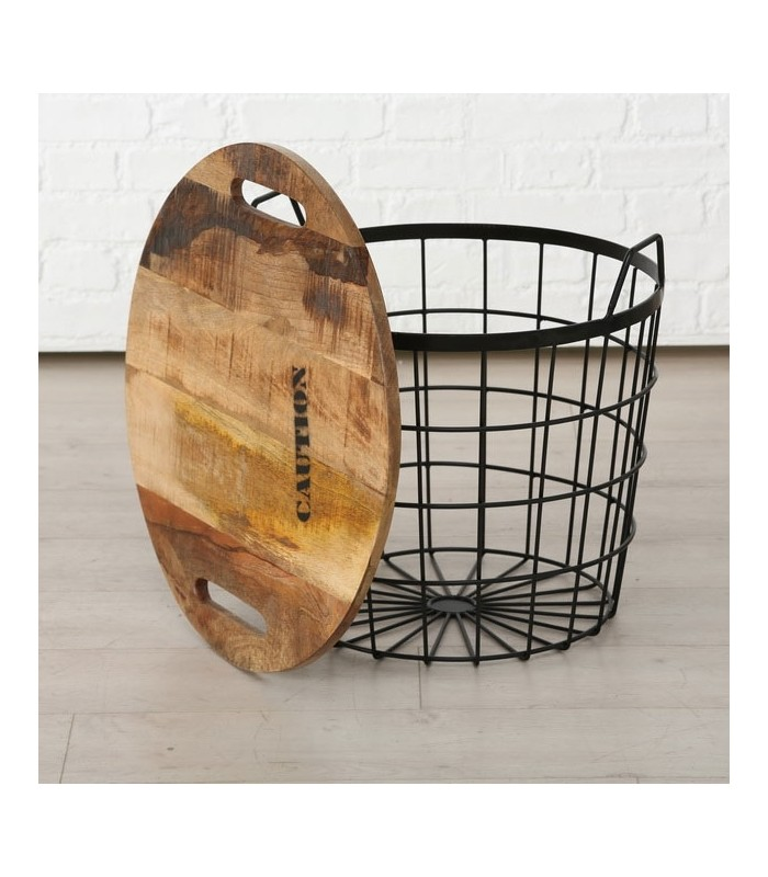 Industrial round coffee table made of wood and metal ...