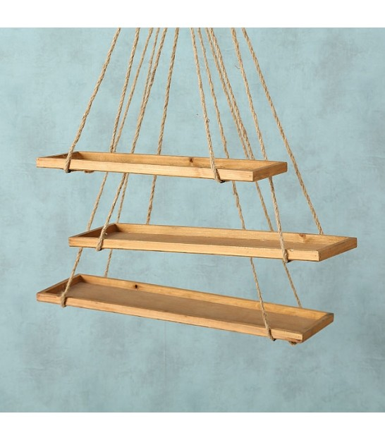 Set of 3 Suspended Wood Shelves