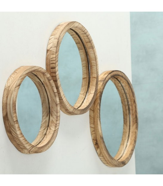 Set of 3 Wooden Round Mirrors